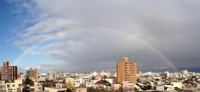 二時に二重に虹が出てた。